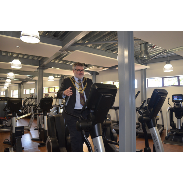 Dave Hodgson at the opening of Robinson Pools and Fitness