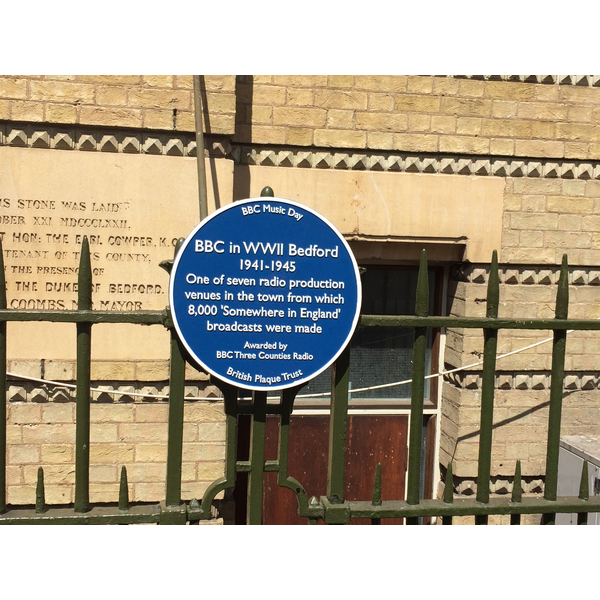 The Blue Plaque at Bedford Corn Exchange which Commemorates the BBC's Wartime Broadcasts from Bedford