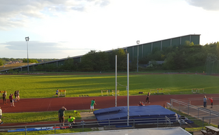 Jarman Park Athletics Track with Snow Centre in bg