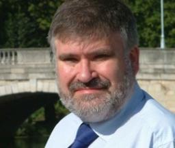 Dave Hodgson with Town Bridge behind