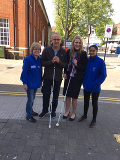 Cllr David Kendall on the blindfold walking challenge in Brentwood