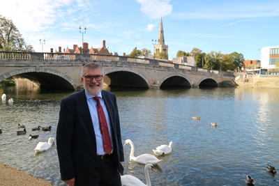 Mayor Dave Hodgson by the River Great Ouse in Bedford