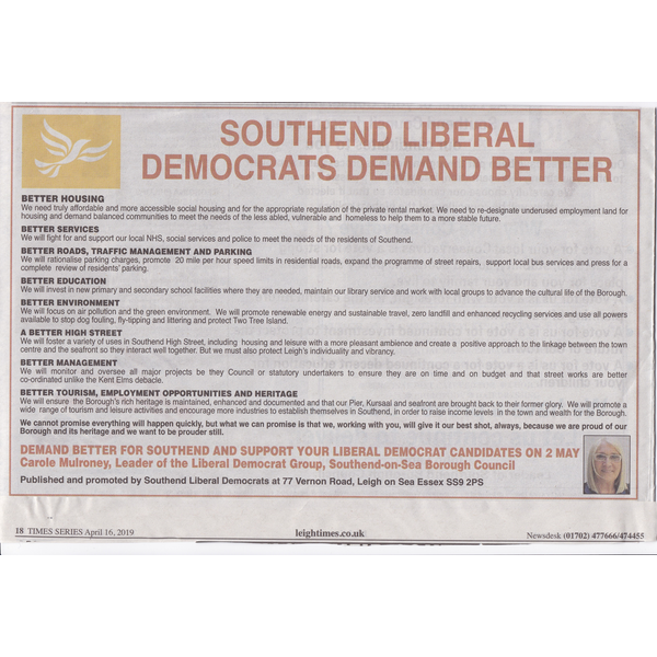 Leigh Times advert 16 April 2019 ()