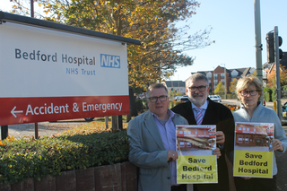 Mayor Dave Hodgson with Councillors Tim Caswell and Christine McHugh campaigning to save Bedford Hospital