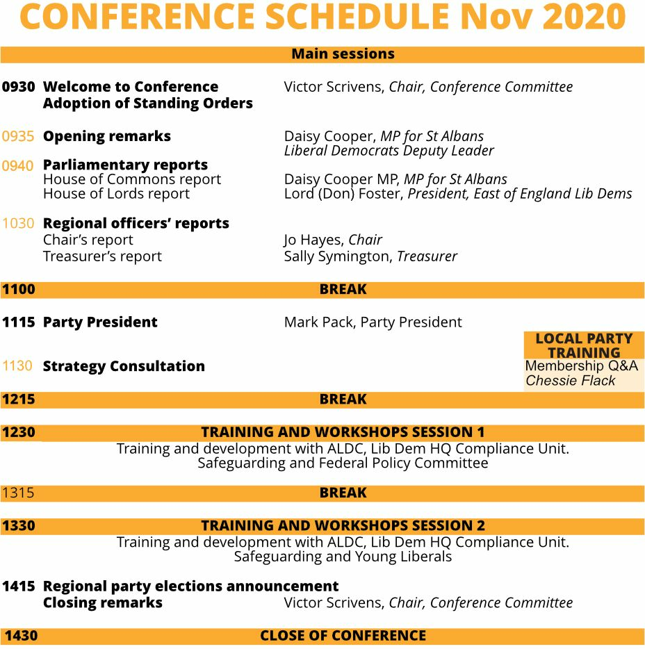 East of England regional conference agenda November 2020