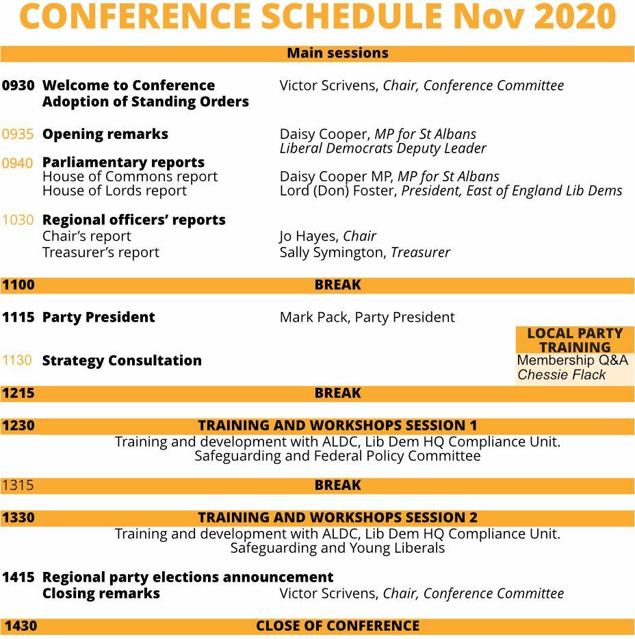 East of England regional conference agenda November 2020