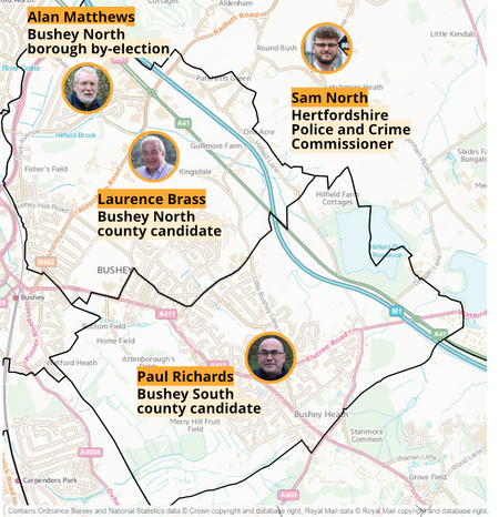 Bushey Elections 6th May 2021 (Ordnance Survey and National Statistics)