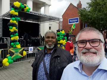 Mayor Dave Hodgson and Councillor Patrick Solomon at the Jamaican Independence celebrations