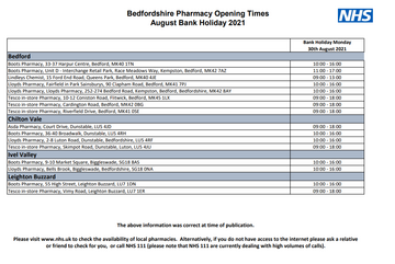 August Bank Holiday Pharmacy opening times